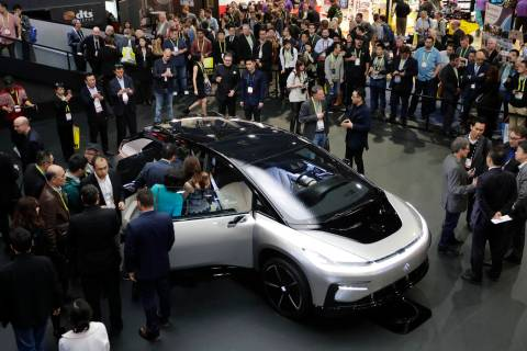 Faraday Future's FF 91 electric car is unveiled during a news conference at CES International i ...
