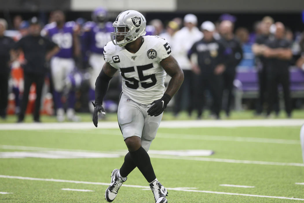 Oakland Raiders outside linebacker Vontaze Burfict runs on the field during the first half of a ...