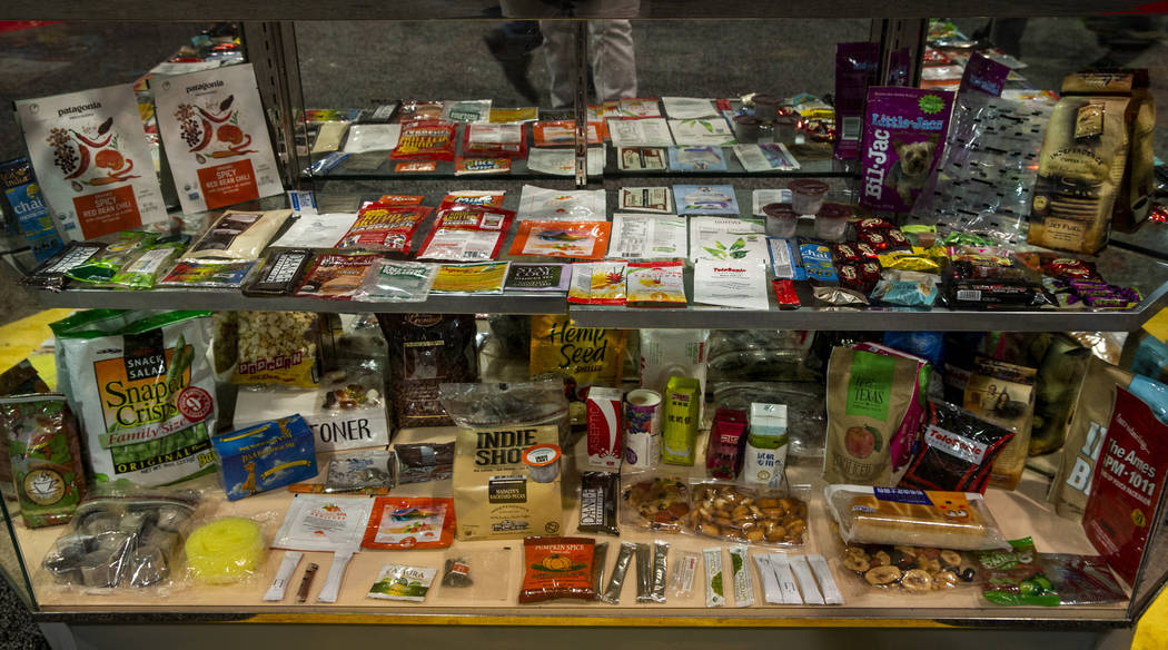 Some of the many packaged goods created by the machines on display at PACK EXPO on Monday, Sept ...