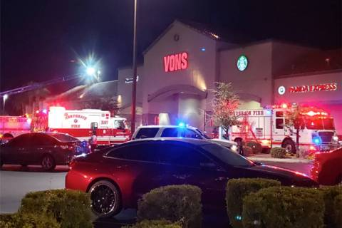 Crews respond to a report of a fire Monday, Sept. 23, 2019, at Vons at 2667 Windmill Parkway in ...