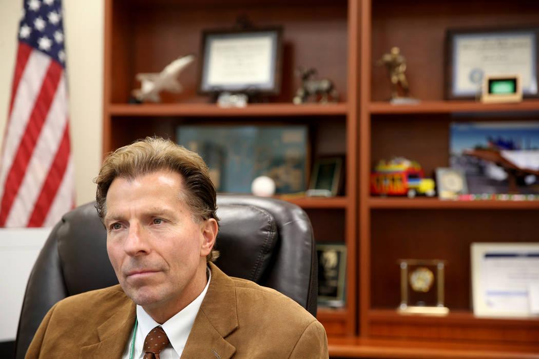 Principal James Kuzma talks to a reporter in his office at Rancho High School in North Las Vega ...