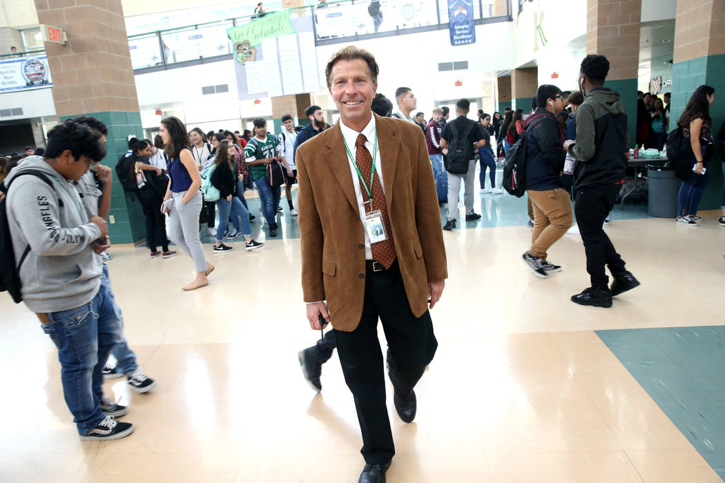 Principal James Kuzma during first lunch at Rancho High School in North Las Vegas, Thursday, Se ...