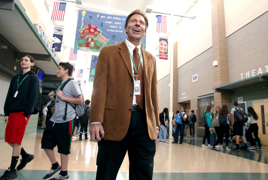 Principal James Kuzma during first lunch at Rancho High School in North Las Vegas Thursday, Sep ...
