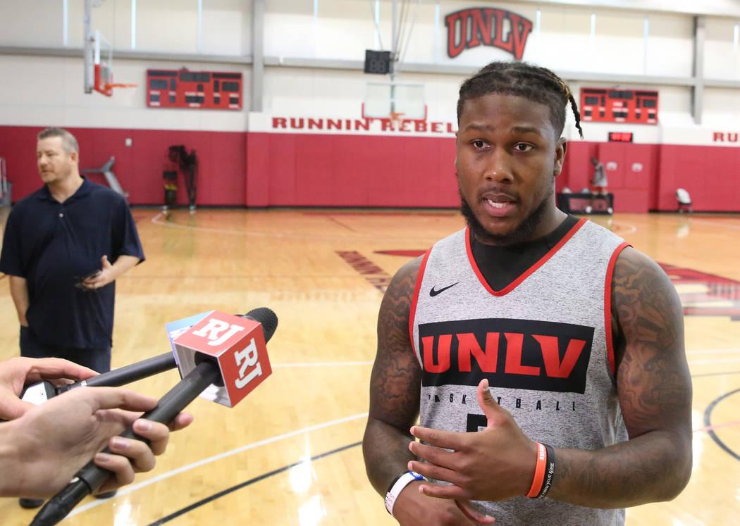 UNLV Rebels guard David Jenkins Jr. talks to the media after team's first basketball practice o ...