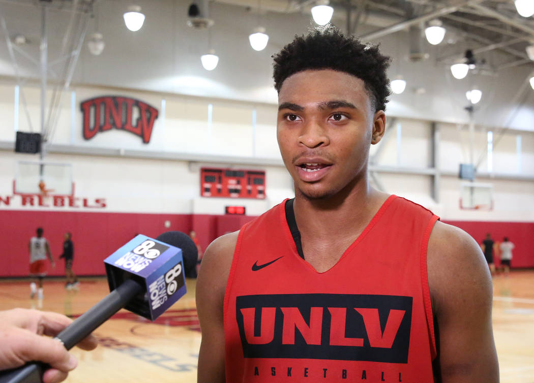 UNLV Rebels guard Bryce Hamilton talks to the media after team's first basketball practice of t ...