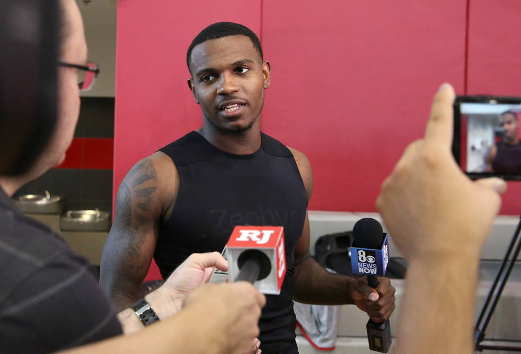 UNLV Rebels guard Amauri Hardy talks to the media after team's first basketball practice of the ...