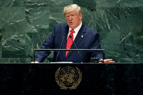 President Donald Trump addresses the 74th session of the United Nations General Assembly, Tuesd ...