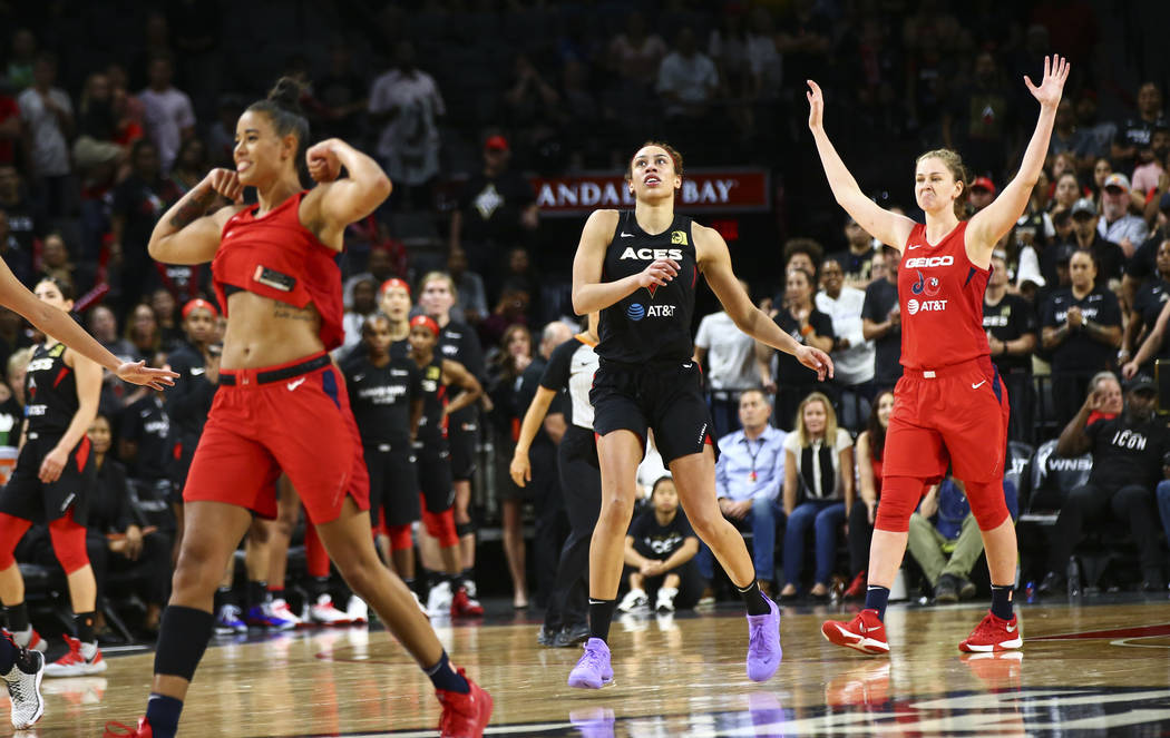Las Vegas Aces' Dearica Hamby watches her shot miss the mark in the final seconds of the fourth ...