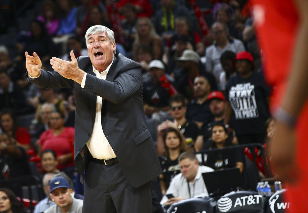 Las Vegas Aces coach Bill Laimbeer motions to his team during the first quarter of a WNBA semif ...