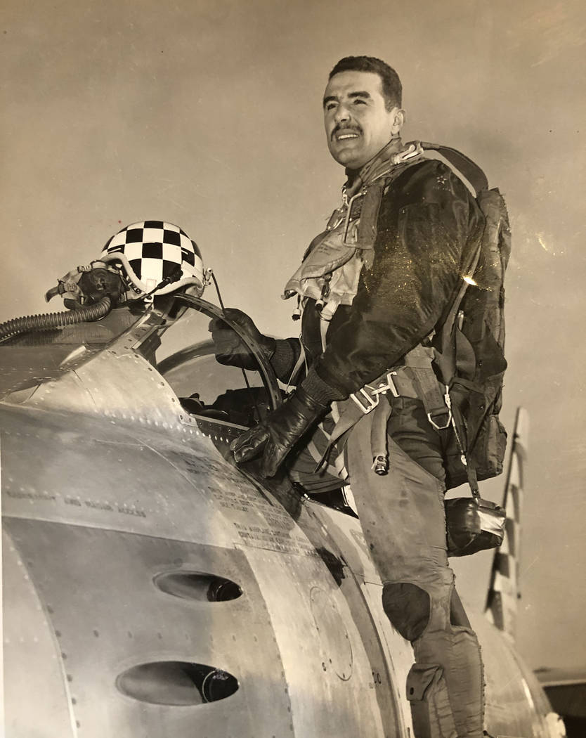 This 1953 photo shows Hank Buttelmann in his F-86 Sabre while serving in the Korean War. Buttel ...