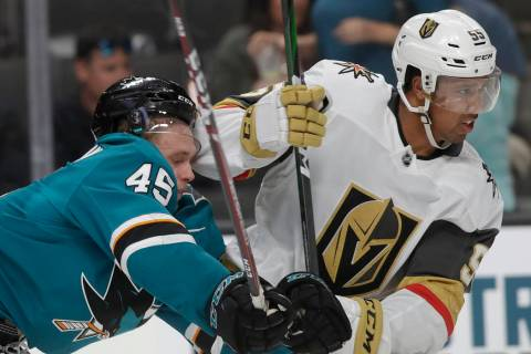 Vegas Golden Knights right wing Keegan Kolesar (55) skates in front of San Jose Sharks' Lean Be ...