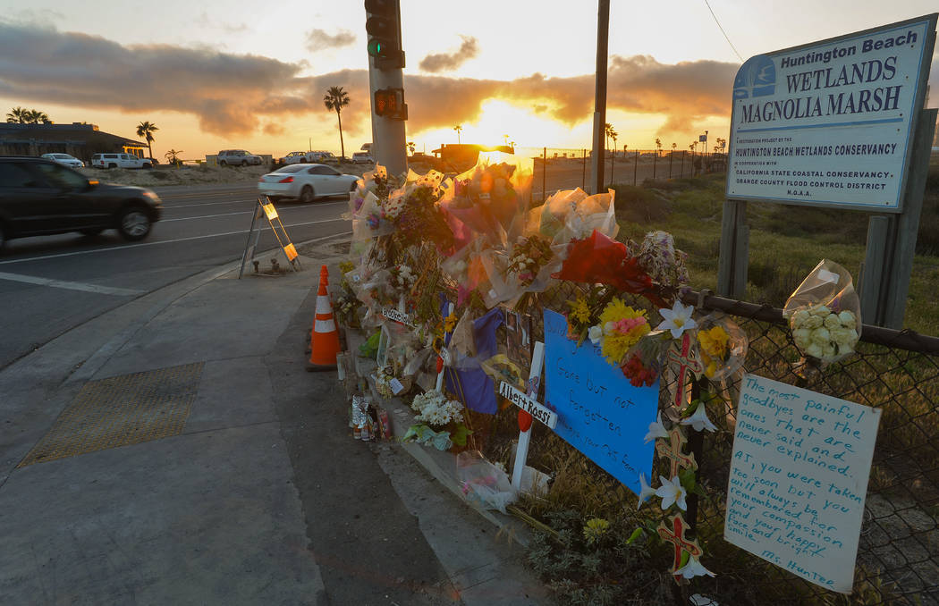 A makeshift roadside memorial on Saturday, April 7, 2018, is still up at the site of a crash th ...