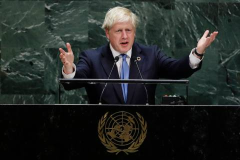 British Prime Minister Boris Johnson addresses the 74th session of the United Nations General A ...