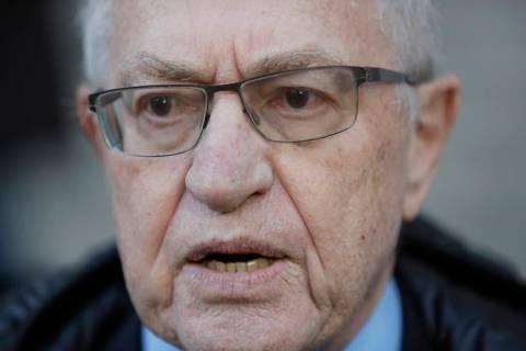 FILE - In this March 6, 2019 file photo, attorney Alan Dershowitz speaks during a news intervie ...