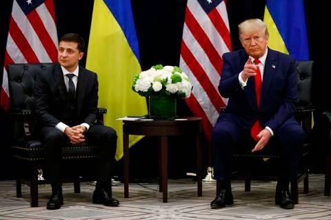 President Donald Trump meets with Ukrainian President Volodymyr Zelenskiy at the InterContinent ...