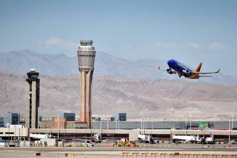 A Southwest Airline passenger jet takes off from McCarran International Airport in 2015. (Las V ...