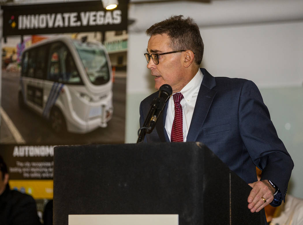 City of Las Vegas Manager Scott Adams welcomes all in attendance as the International Innovatio ...