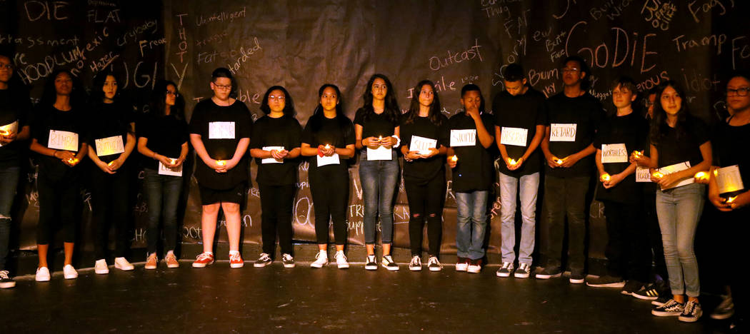 """Eighth grade students during a rehearsal for anti-bullying play """"The Weight of Your Word ..."""