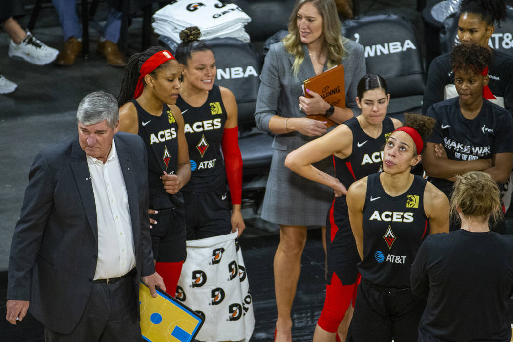 The Las Vegas Aces look dejected as they are down late versus the Washington Mystics during the ...