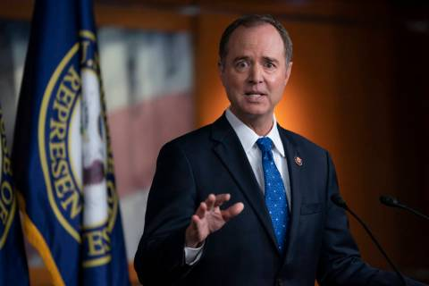House Intelligence Committee Chairman Adam Schiff, D-Calif., talks to reporters about the relea ...