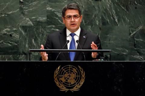Honduras President Juan Orlando Hernandez Alvarado addresses the 74th session of the United Nat ...