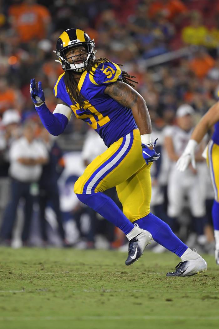 Los Angeles Rams linebacker Dakota Allen runs a play during a preseason NFL football game again ...