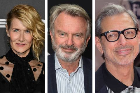"Laura Dern, from left, Sam Neill and Jeff Goldblum will reprise their ""Jurassic Park"" roles ..."