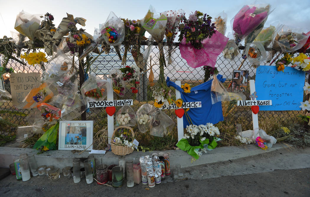 A makeshift roadside memorial on Saturday, April 7, 2018, where three Las Vegas teens were kill ...