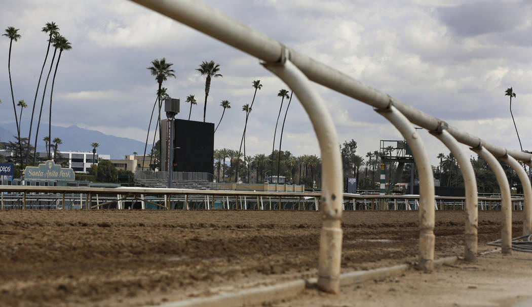 Shows the empty home stretch at Santa Anita Park in Arcadia, Calif. on March 7, 2019. A filly b ...