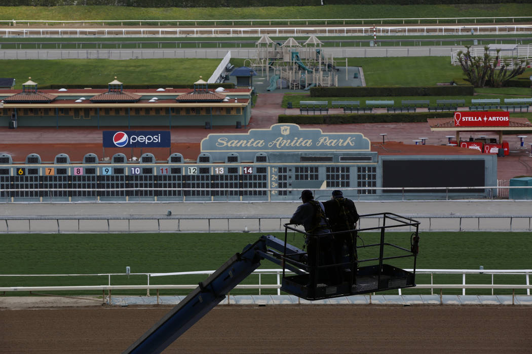 The home stretch and stands are empty at Santa Anita Park in Arcadia, Calif., Thursday, March 7 ...