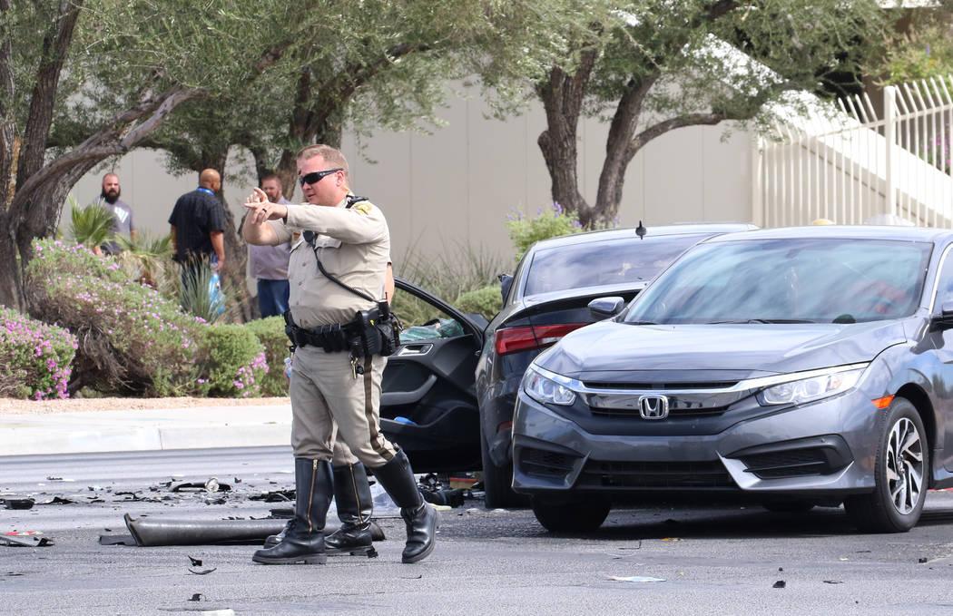Las Vegas police investigate fatal crash at the intersection of Sahara Avenue and Steve Rigazio ...