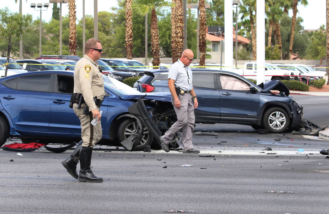 Las Vegas police investigate fatal crash at the intersection of Sahara Avenue and Steve Rigazio ...