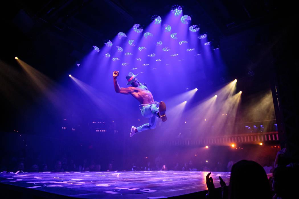 """Manwe Sauls-Addison performs during the grand opening of """"Magic Mike Live"""" at The Hard Rock ..."""