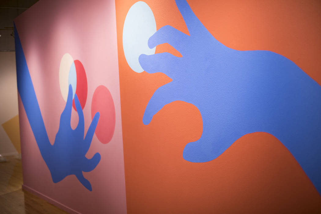"""A mural at artist Amanda Phingbodhipakkiya's show """"Connective Tissue"""" at the Marjorie ..."""