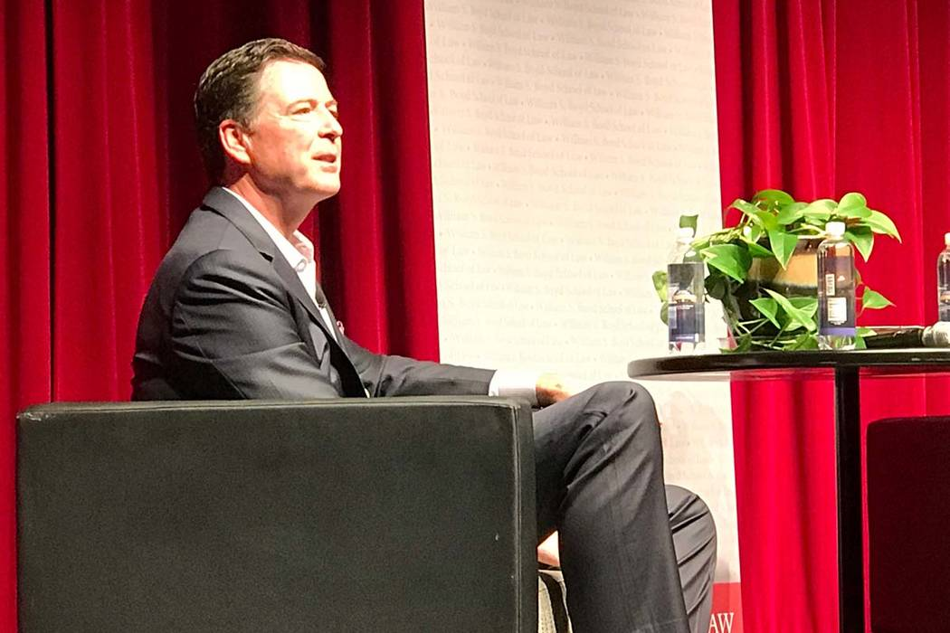 Former FBI Director James Comey discusses leadership lessons at a William S. Boyd Law School La ...