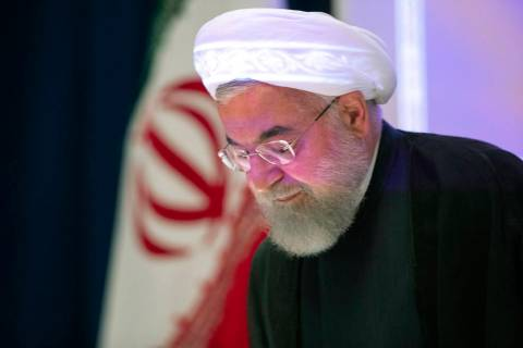 Iran's President Hassan Rouhani arrives for a news conference, Thursday, Sept. 26, 2019, in New ...