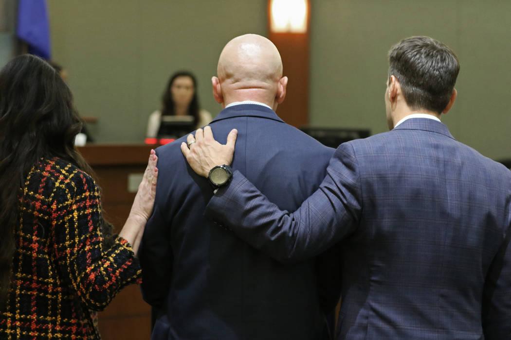 "Defense attorney Jean Schwartzer, left, Las Vegas police Lt. James ""Tom"" Melton and d ..."