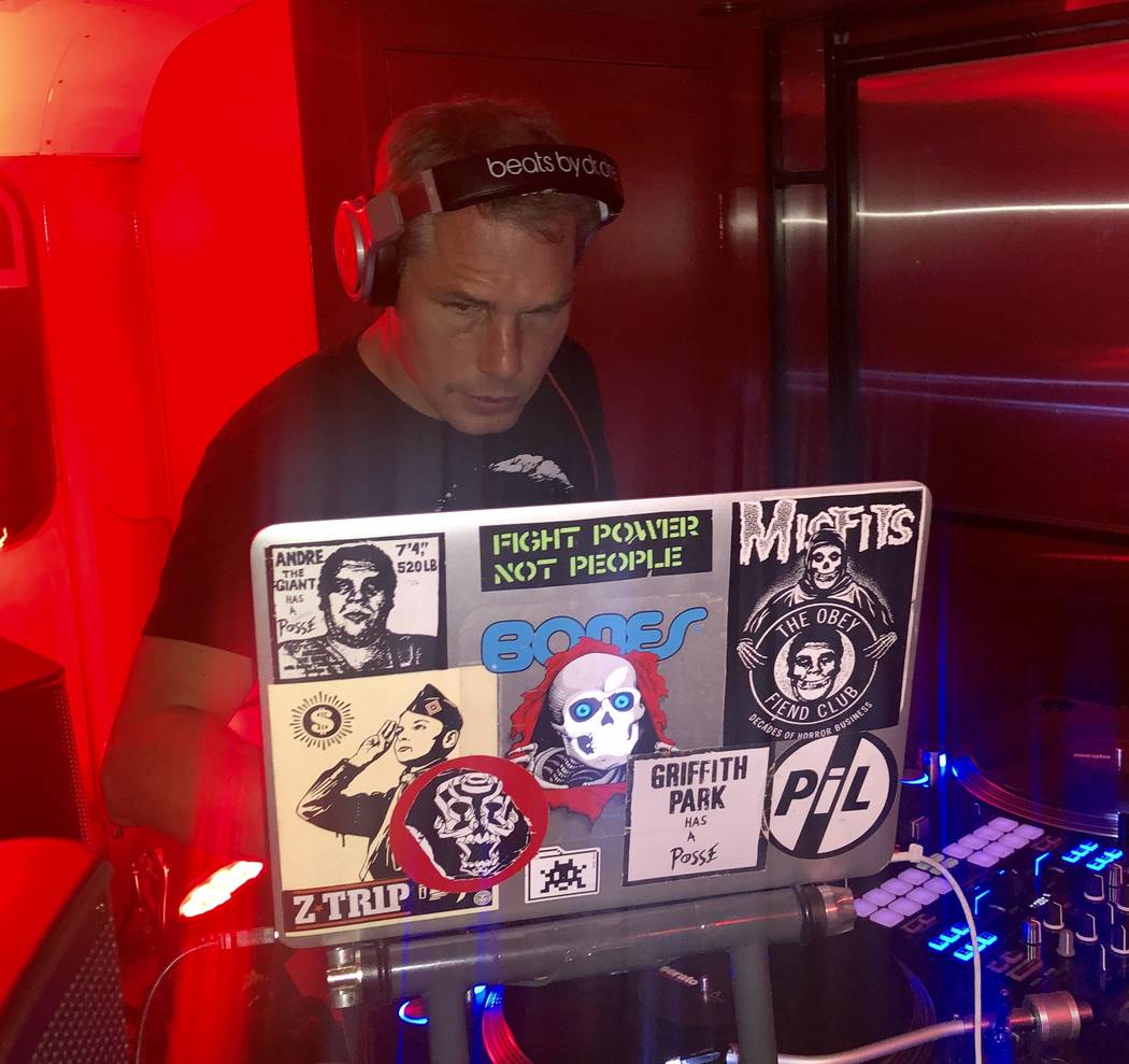 Pop artist Shepard Fairey performs a DJ set at On The Record at Park MGM on Wednesday, Sept. 25 ...