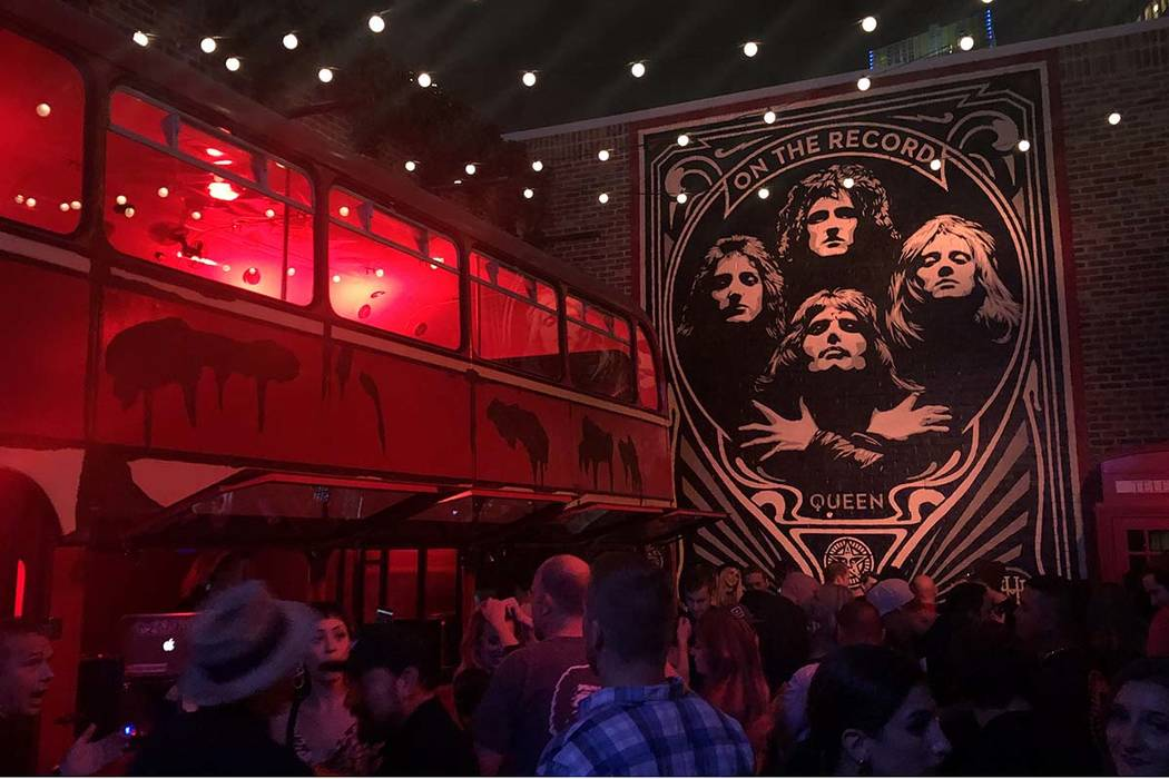 Pop artist Shepard Fairey's latest piece, an homage to Queen, is shown at On The Record at Park ...