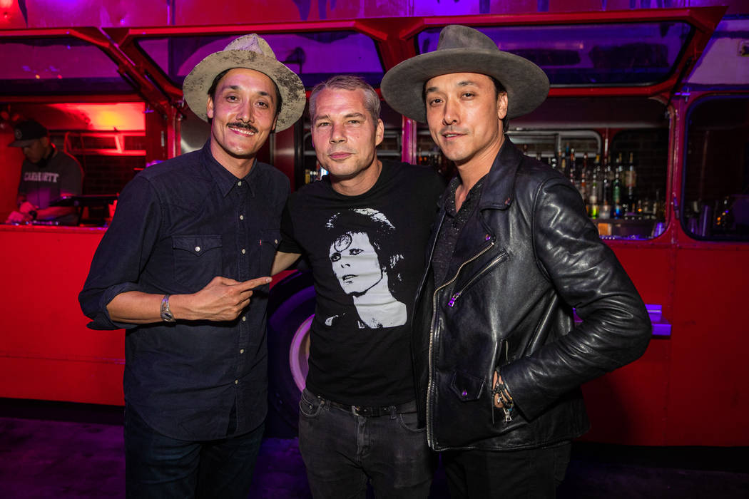 Shepard Fairey with Jonnie (left) and Mark Houston (right). (On The Record)