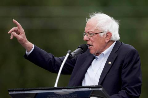 Democratic presidential candidate Sen. Bernie Sanders, I-Vt., speaks at the Polk County Democra ...