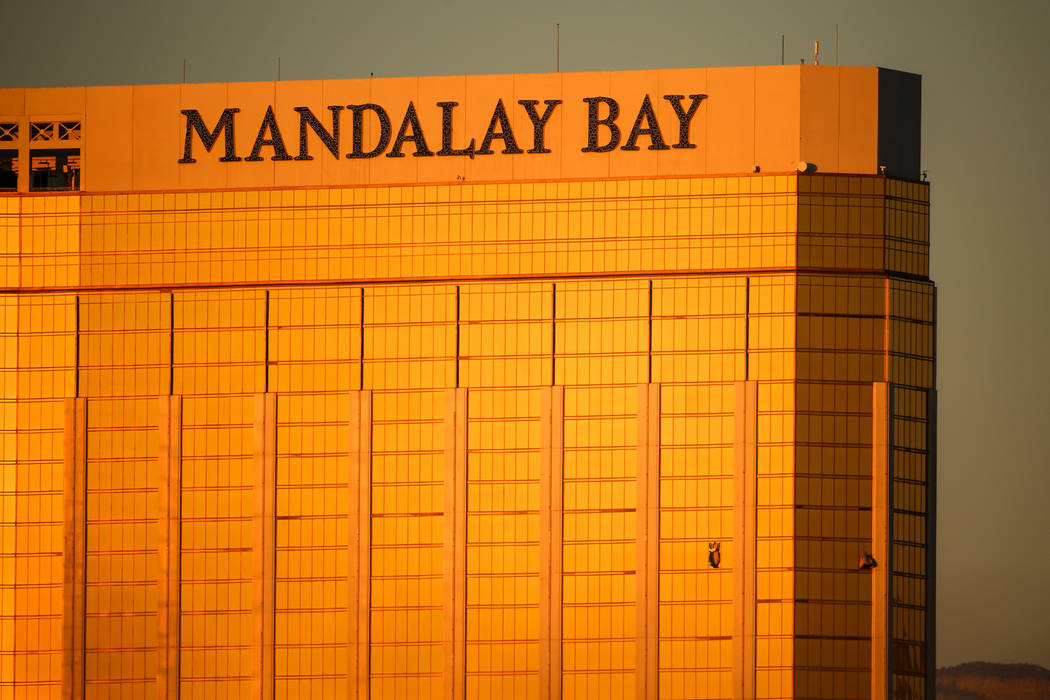 Broken windows at Mandalay Bay in Las Vegas on Oct. 2, 2017, after a shooting on the Strip left ...