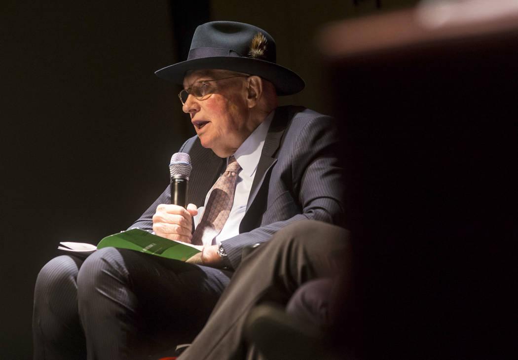 Former U.S. Sen Harry Reid speaks during a panel about Islam in America at UNLV in Las Vegas on ...