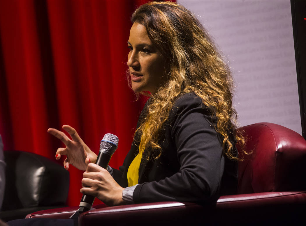 Leila Fadel, national correspondent at NPR, speaks during a panel about Islam in America at UNL ...
