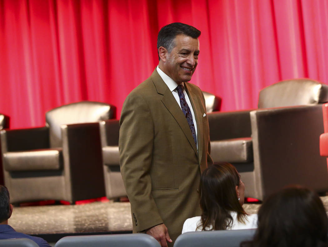 Former Gov. Brian Sandoval attends a panel about Islam in America at UNLV in Las Vegas on Thurs ...