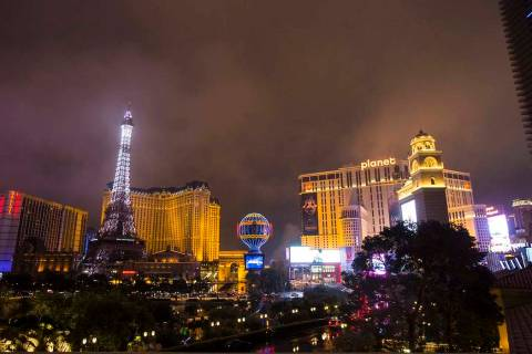 A view of the Bally's, Paris Las Vegas and Planet Hollywood on the Las Vegas Strip. (Chase Stev ...