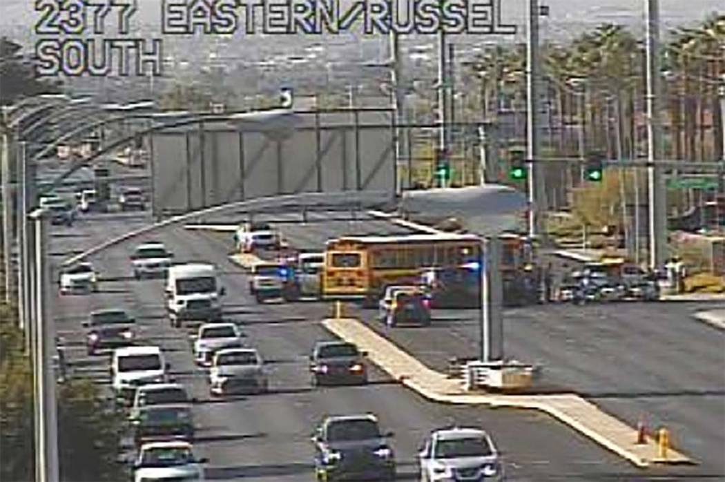 A Clark County school bus hit two children in a crosswalk about 8 a.m. Friday, Sept. 27, 2019, ...