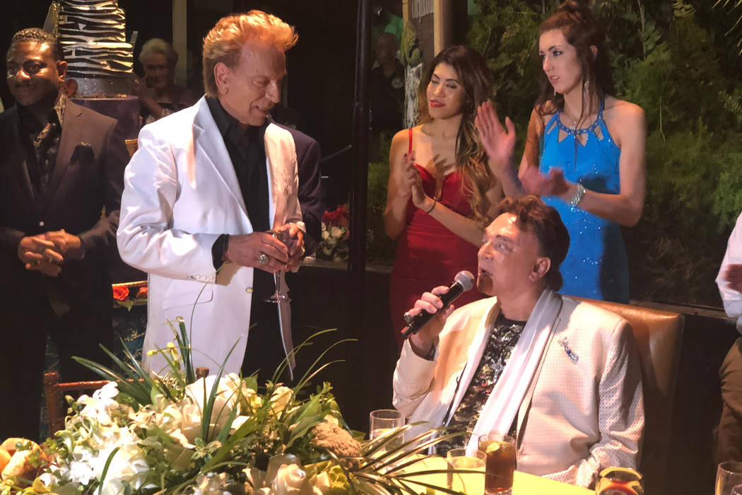 Siegfried Fischbacher, left, and Roy Horn at Roy's birthday party at Siegfried & Roy's Secret G ...