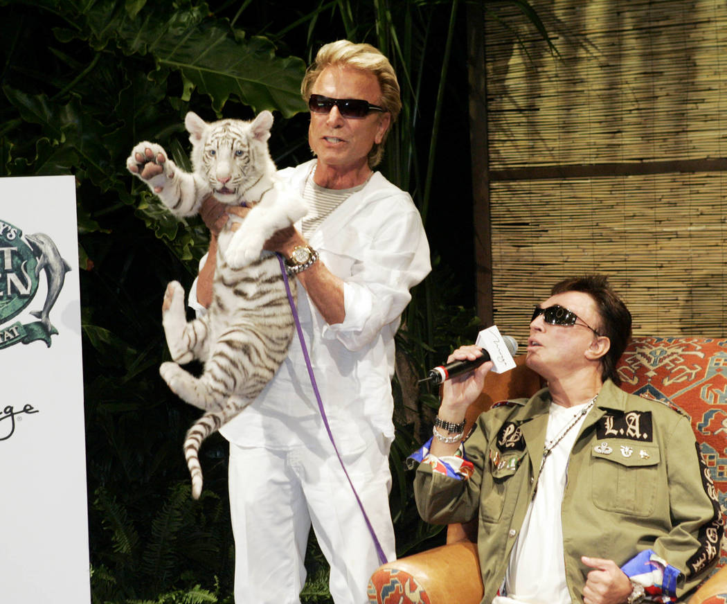 "Siegfried Fischbacher, left, holds ""Star,"" a 12-week-old female white tiger, as Roy Horn speaks ..."