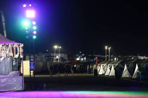 Tents at the campground area during the first day of the Electric Daisy Carnival at the Las Veg ...